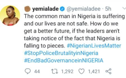 EndSARS: 'The Common Man In Nigeria Is Suffering' – Singer Yemi Alade
