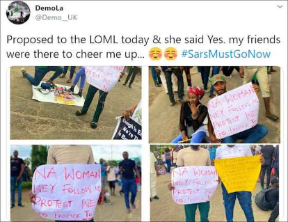 Lovestruck Protester, Demola Proposes To His Girlfriend During #EndSARS Protest