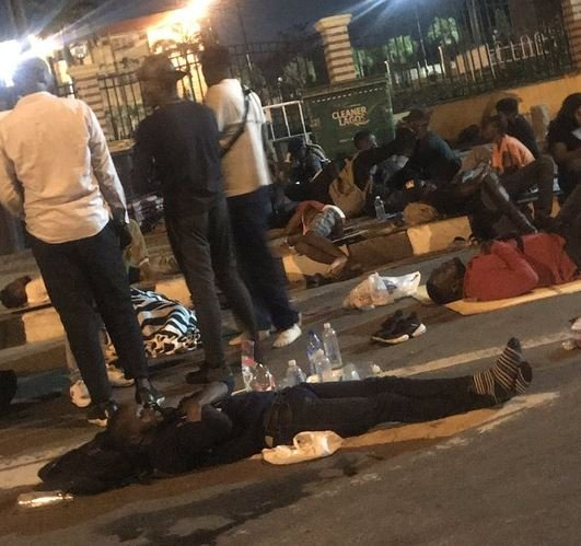 Mr Macaroni And Other Endsars Protesters Sleep Outside Lagos House Of Assembly