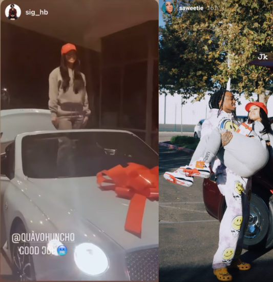 Quavo allegedly takes back the 2021 Bentley he gifted Saweetie for Xmas after she broke up with him
